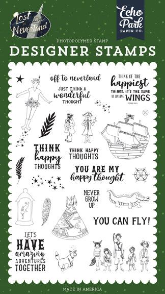 Echo Park Clear Stamp Set - Lost In Neverland - Off to Neverland