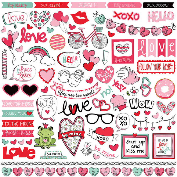 Photo Play 12x12 Cardstock Stickers - Love Notes - Elements
