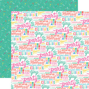 Echo Park Papers - Let's Party - Hooray Words - 2 Sheets