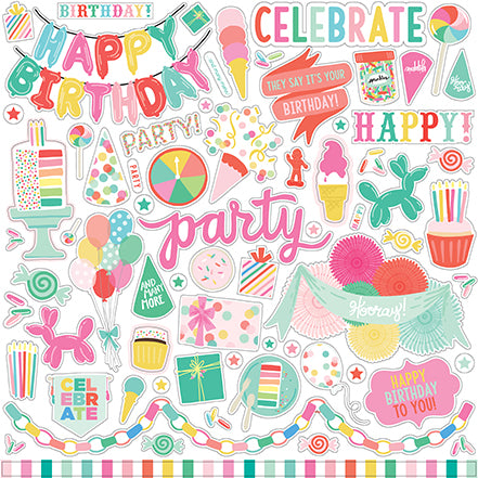 Echo Park 12x12 Cardstock Stickers - Let's Party - Elements