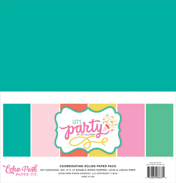 Echo Park Solids Paper Pack - Let's Party - Paper Pack
