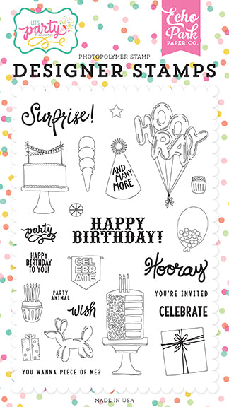 Echo Park Clear Stamp Set - Let's Party - Party Animal
