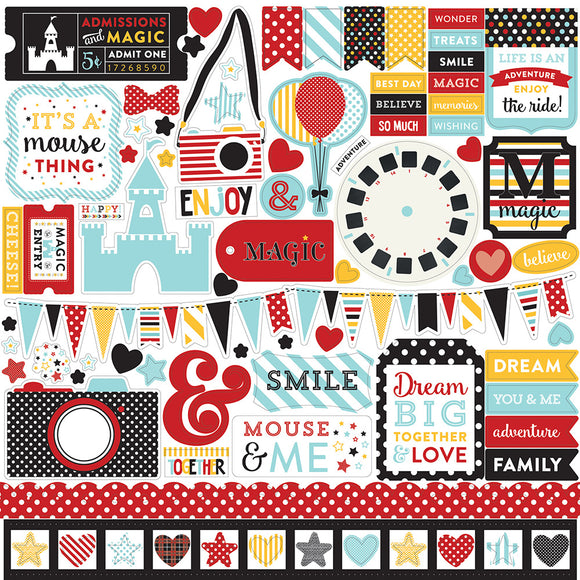 Echo Park 12x12 Cardstock Stickers - Magical Adventure - Elements