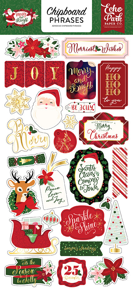 Echo Park Chipboard - Merry & Bright - Phrases