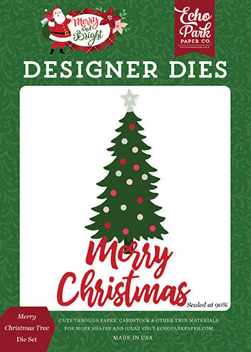 Echo Park Designer Dies - Merry & Bright - Merry Christmas Tree Die Set