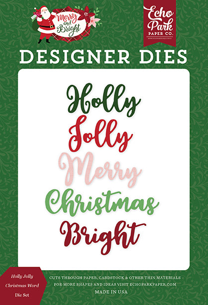Echo Park Designer Dies - Merry & Bright - Holly Jolly Christmas Word Die Set