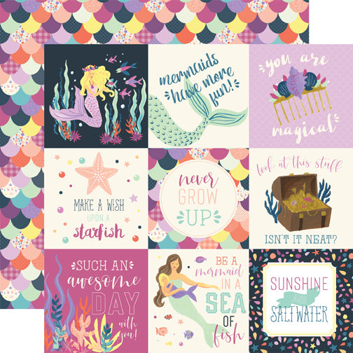 Echo Park Cut-Outs - Mermaid Dreams - 4x4 Journaling Cards