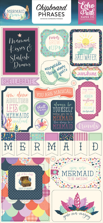 Echo Park Chipboard - Mermaid Dreams - Phrases