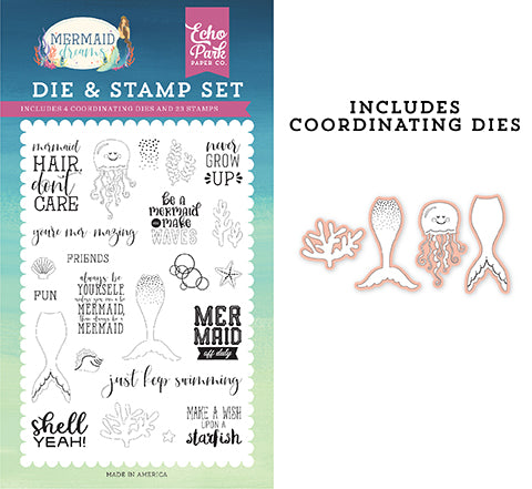Echo Park Stamp and Die Set - Mermaid Dreams - Be a Mermaid