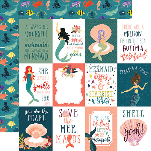 Echo Park Cut-Outs - Mermaid Tales - 3x4 Journaling Cards