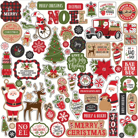Echo Park 12x12 Cardstock Stickers - My Favorite Christmas - Elements