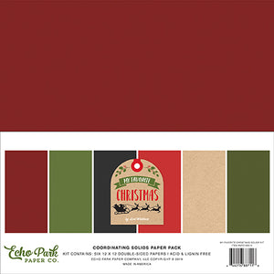 Echo Park Solids Paper Pack - My Favorite Christmas - Solid Paper Pack