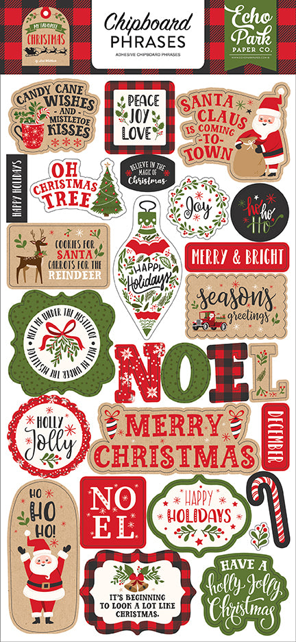 Echo Park Chipboard - My Favorite Christmas - Phrases