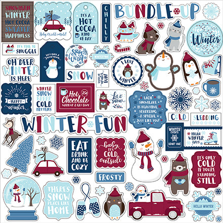 Echo Park 12x12 Cardstock Stickers - My Favorite Winter - Elements