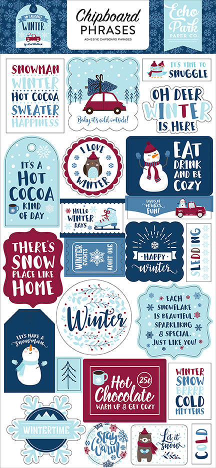 Echo Park Chipboard - My Favorite Winter - Phrases