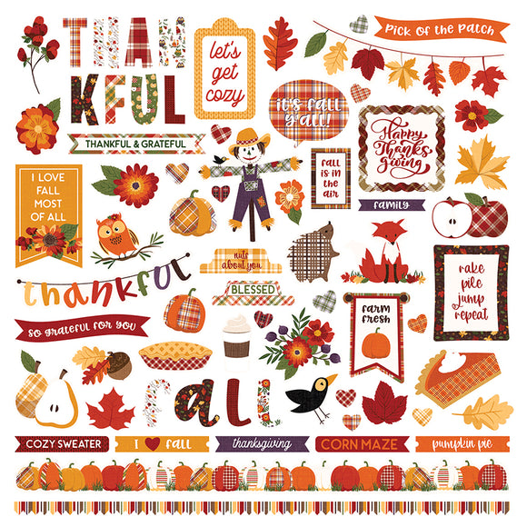 Photo Play 12x12 Cardstock Stickers - Mad 4 Plaid - Fall - Elements