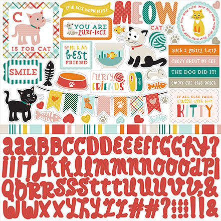 Echo Park 12x12 Cardstock Stickers - Meow - Elements