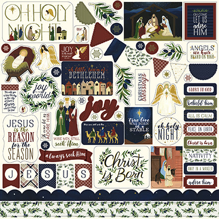 Echo Park 12x12 Cardstock Stickers - Oh Holy Night