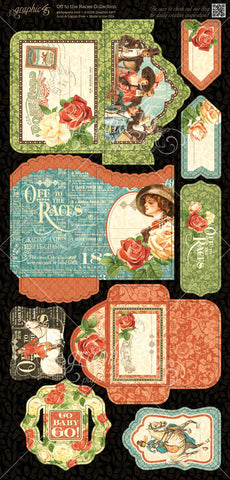 Graphic 45 Die-Cuts - Off to the Races - Tags & Pockets