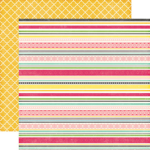 Echo Park Papers - Petticoats - Sassy Stripes - 2 Sheets