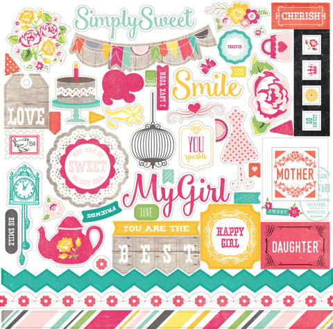 Echo Park 12x12 Cardstock Stickers - Petticoats - Girl - Elements