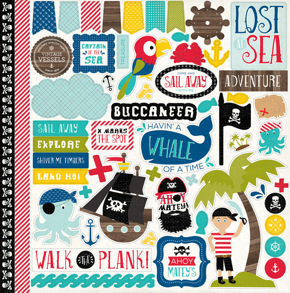 Echo Park 12x12 Cardstock Stickers - Pirate's Life - Elements