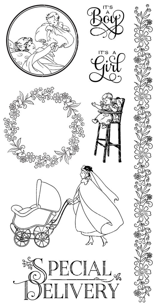 Graphic 45 Cling Mounted Rubber Stamp Set - Precious Memories (C)