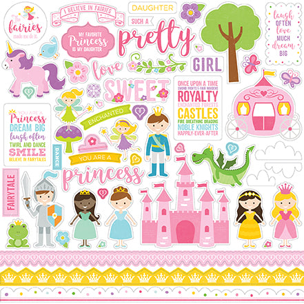 Echo Park 12x12 Cardstock Stickers - Perfect Princess - Elements