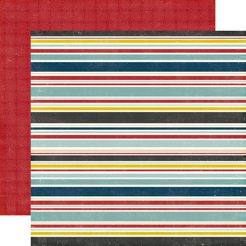 Echo Park Papers - Pinstripes - Boy Stripes - 2 Sheets