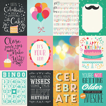 Echo Park Cut-Outs - Party Time - 3x4 Journaling Cards