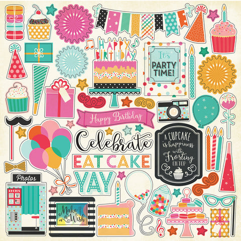 Echo Park 12x12 Cardstock Stickers - Party Time - Elements