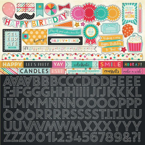 Echo Park 12x12 Cardstock Stickers - Party Time - Alpha
