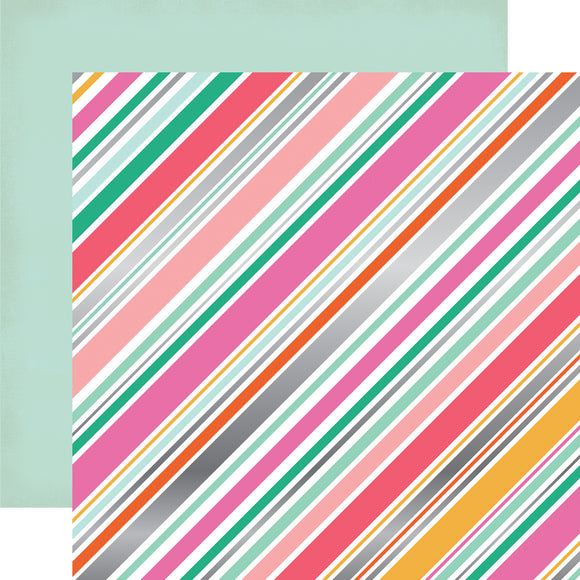 Echo Park Papers - Party Time - Diagonal Stripe Foil - 2 Sheets