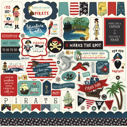 Echo Park 12x12 Cardstock Stickers - Pirate Tales - Elements
