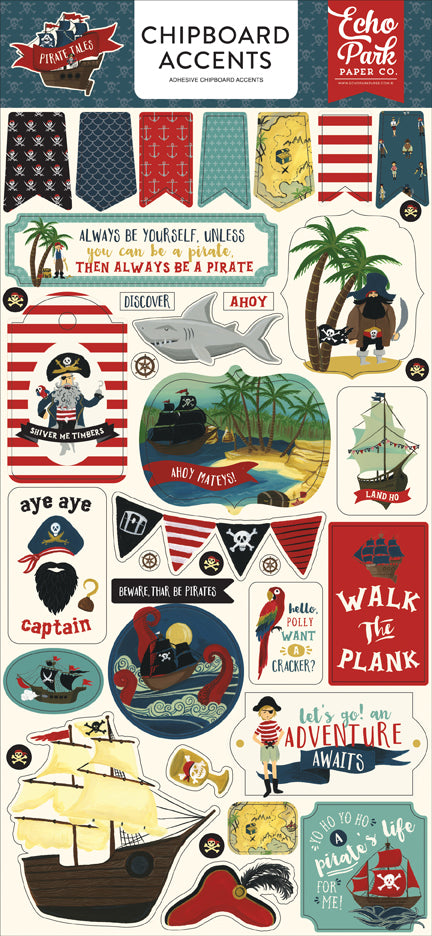 Echo Park Chipboard - Pirate Tales - Accents