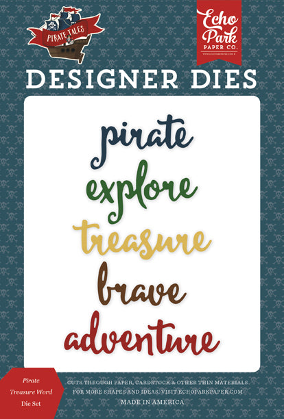 Echo Park Designer Dies - Pirate Tales - Pirate Treasure Word Die Set
