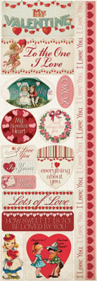 Reminisce Long Cardstock Stickers - My Sweet Valentine