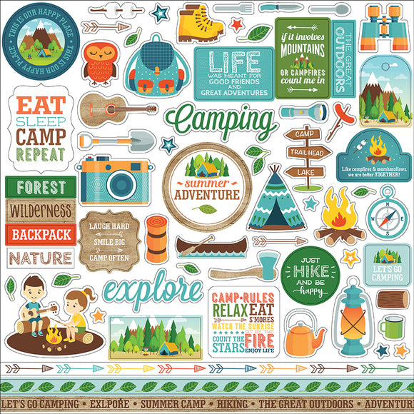Echo Park 12x12 Cardstock Stickers - Summer Adventure - Elements