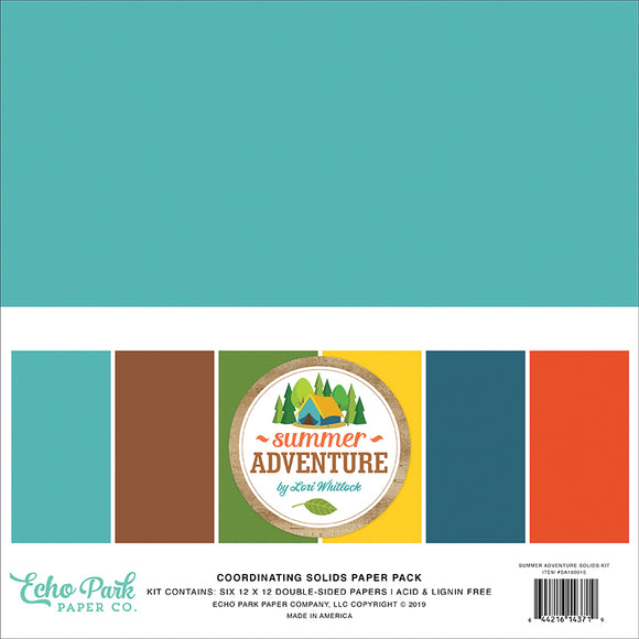 Echo Park Solids Paper Pack - Summer Adventure - Paper Pack
