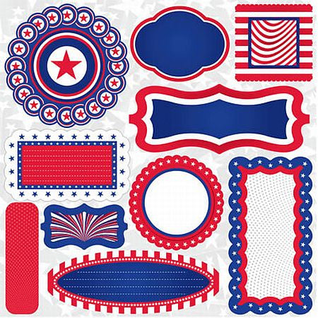 Reminisce 12x12 Cardstock Stickers - Stars & Stripes - Journal