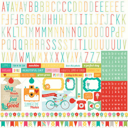 Echo Park 12x12 Cardstock Stickers - Summer Bliss - Alpha