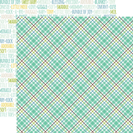 Echo Park Papers - Sweet Baby - Boy - Sweet Boy Plaid - 2 Sheets
