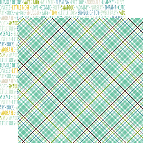 Echo Park Papers -Sweet Baby - Boy - Sweet Boy Plaid - 2 Sheets