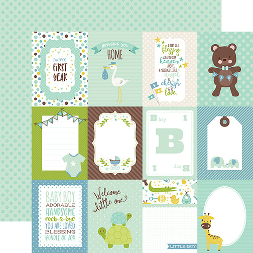 Echo Park Cut-Outs - Sweet Baby - Boy - 3x4 Journaling Cards