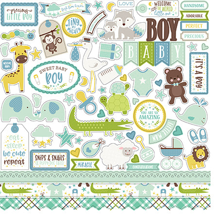 Echo Park 12x12 Cardstock Stickers - Sweet Baby - Boy - Elements