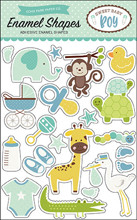 Echo Park Enamel Stickers - Sweet Baby - Boy - Shapes
