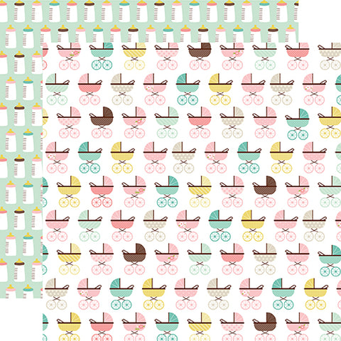 Echo Park Papers -Sweet Baby - Girl - Baby Buggy - 2 Sheets