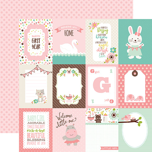 Echo Park Cut-Outs - Sweet Baby - Girl - 3x4 Journaling Cards