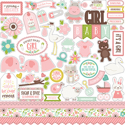 Echo Park 12x12 Cardstock Stickers - Sweet Baby - Girl - Elements