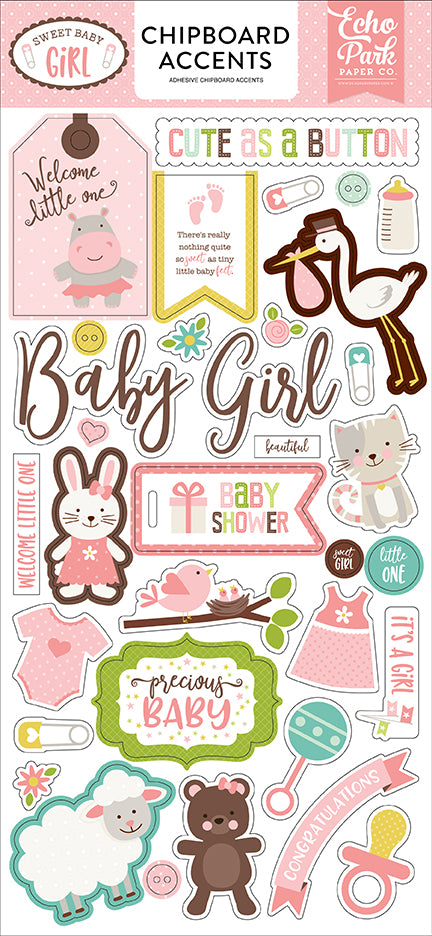 Echo Park Chipboard - Sweet Baby Girl - Accents